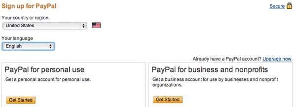 Sign up for Paypal Personal and Business