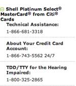 Shell platinium select mastercard from citi cards