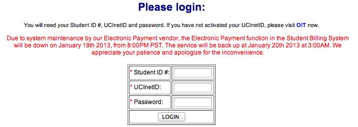 login UCI account