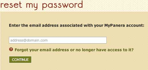 reset Mypanera password