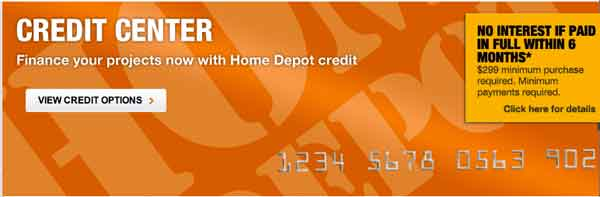 Credit card home depot