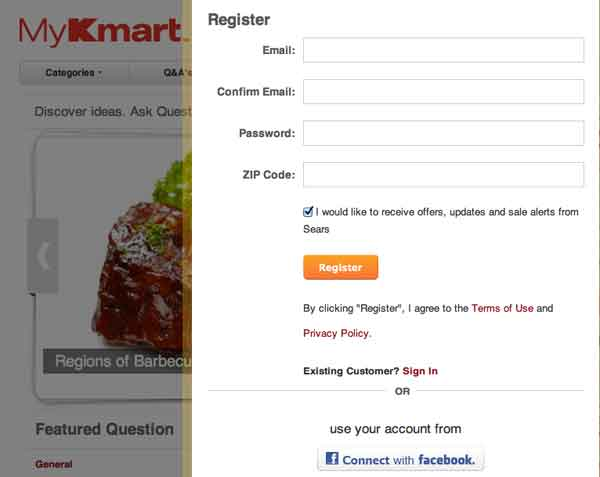 Register Kmart account