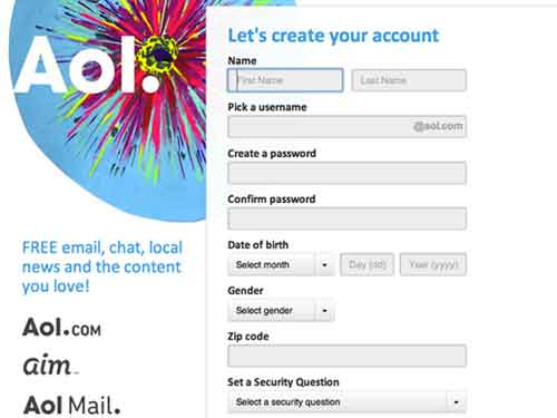 AOL create mail account
