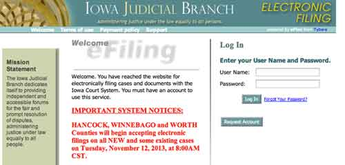Iowa courts login