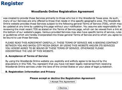 Woodlands register agreement
