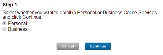 "Choose ""Personal""and join Webster Bank Online"