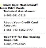 Shell gold mastercard from citi cards technical assistance