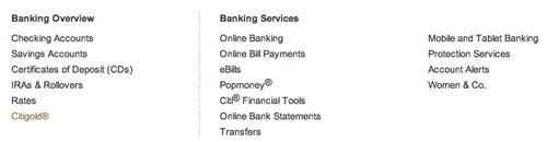 Citi Banking services