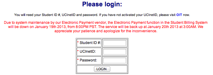 login UCI account