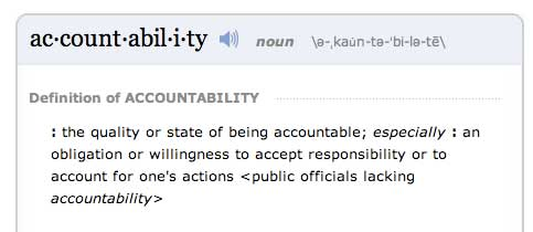 M Webster Accountability definition