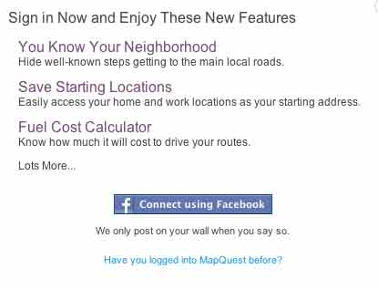 Sign in mapquest