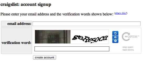 Create account Craigslist