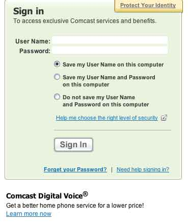 Sign-in Comcast