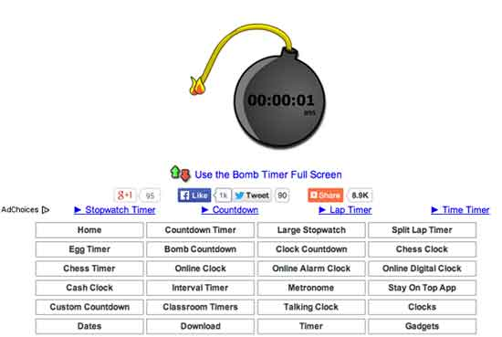 Download a Stopwatch Bomb | Online Timer in Full Screen