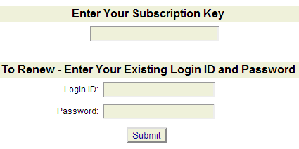 Renewing a password with a Subscription Key
