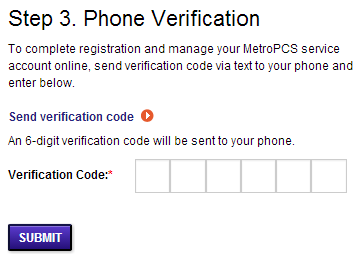 "Select ""Submit"" to complete your registration at Metro PCS"