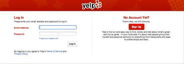 Yelp user account